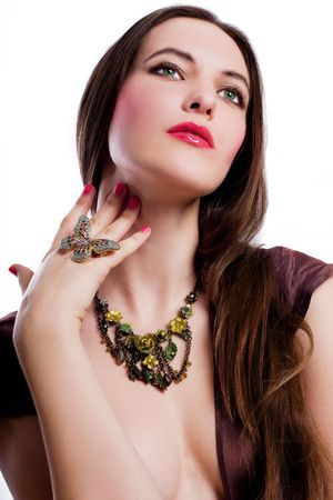 portrait of beauty young woman with jewelery (isolated)