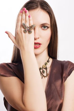portrait of a beauty young woman with luxury jewelery (isolated) Stock Photo - 5944548