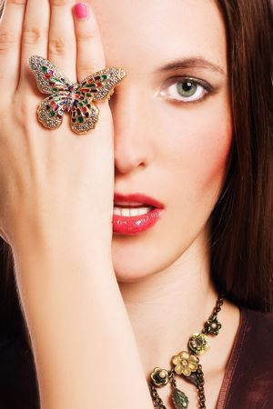 portrait of a beauty young woman with luxury jewelery (colorful) Stock Photo - 5944523