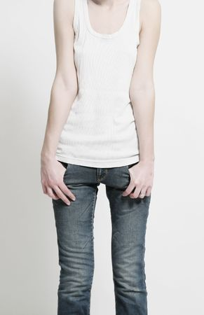 anorexia girl: shape of thin woman in shirt and jeans