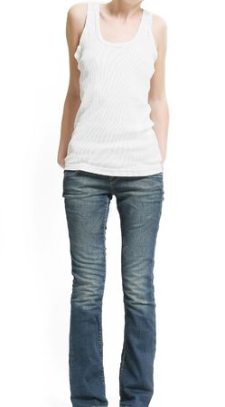 thinness: shape of thin woman in shirt and jeans (isolated on white background)