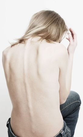 thinness: back of thin woman with curve range