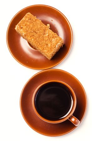 caffee: caffee and honey cake (isolated)