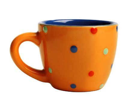 domestically: bright orange funny cup in pea (isolated) Stock Photo