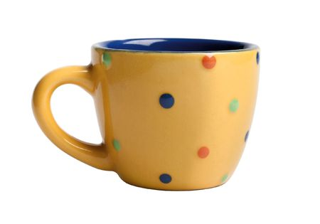 domestically: funny yellow cup for tea or coffee (isolated on a white)