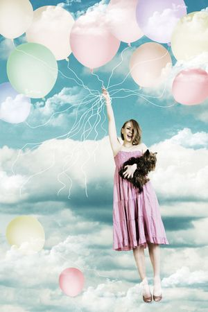 air animals: beauty girl in the sky on a air ball