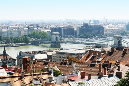 panoramic view of Budapest including river Danube and roofs photo