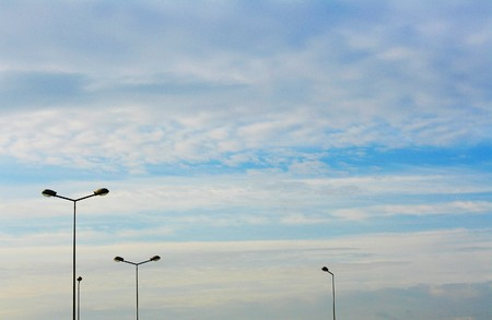 lonely lantern on blue sky with clouds Stock Photo - 8010336