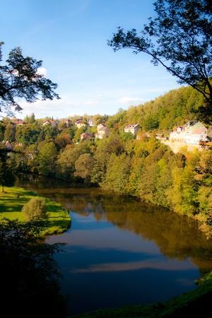 autumn landscape on the river near Lock Castle, Czech Republic Stock Photo - 8010358