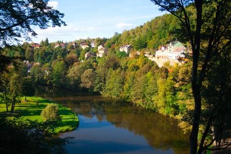 autumn landscape on the river near Lock Castle, Czech Republic Stock Photo - 8010359