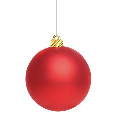 antiquary: Bola roja del nuevo a�o, aislado en un blanco