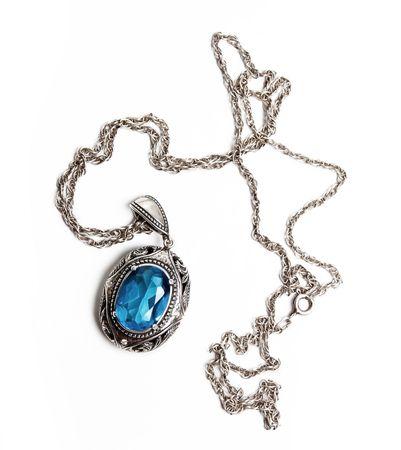medaglione: Ciondolo di antiquariato retr� (isolato su un bianco) Archivio Fotografico