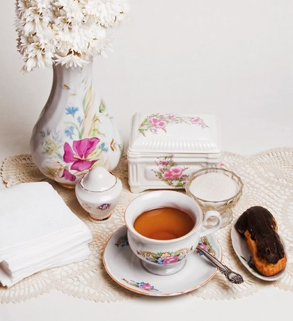 composition from english high tea with cake photo