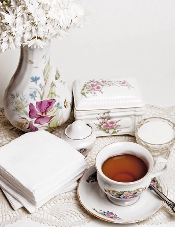 composition from english high tea with cake Stock Photo - 8181866