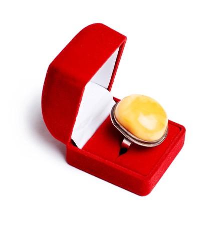 signet: c�lulas grandes con �mbar amarillo en el cuadro rojo aislado en un blanco