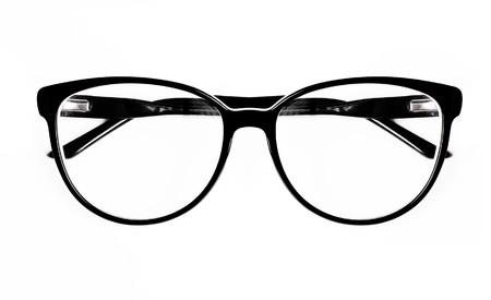 premise: fashion eyeglasses with black plastic rim (isolated) Stock Photo