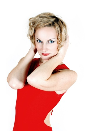 beauty blond in red dress isolated on a white Stock Photo - 8367968
