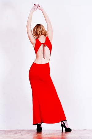 silhouette of skinny women in red dress Stock Photo - 8359427