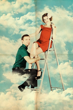 postcard with love couple in the sky photo