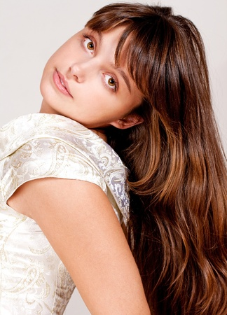 portrait of beauty brunette with pretty eyes and luxury hairs Stock Photo - 8408069