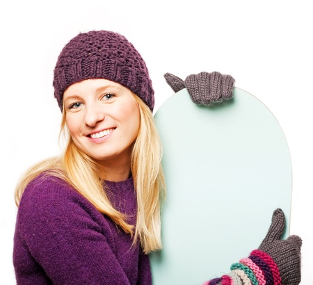 Beauty young woman with snowboard (isolated on a white) photo