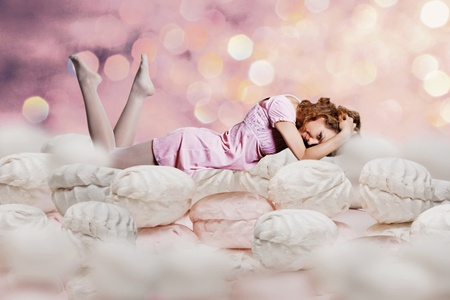 dream about beauty young woman in a sweet cakes