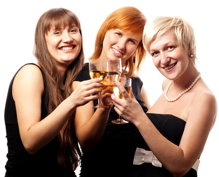 Happy girls in black dress (isolated) Stock Photo - 8541739