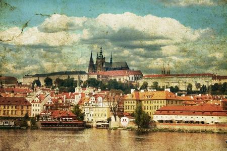 retro postcard with praha, chezh republic photo