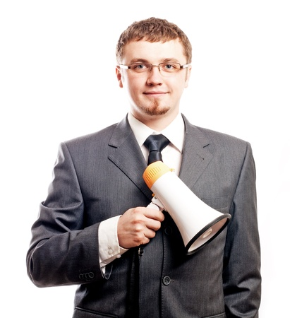 successful happy young business man with shout(isolated) Stock Photo - 8582693