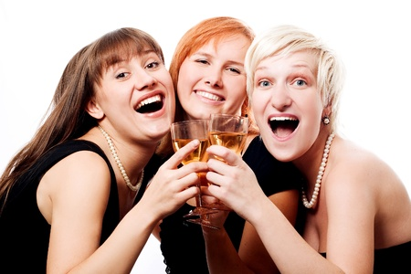 sociable: Happy women in black dress (isolated)