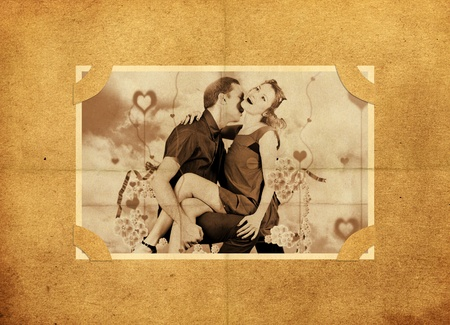 Vector photo of lovers on old, aged background paper  photo