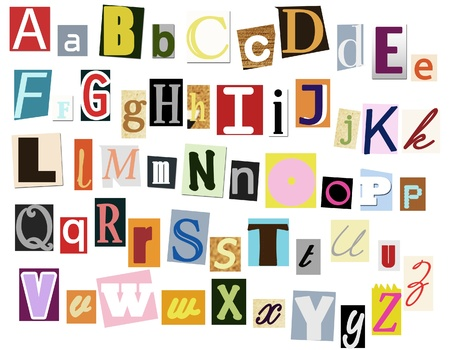 Colorful alphabet with letters torn from newspapers and magazines Stock Photo - 8651123