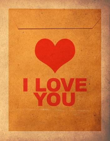 i love u: love mail, vintage envelope Stock Photo