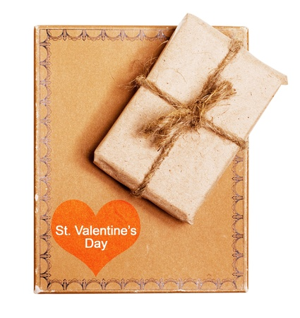 present gift from grunge paper isolated on a white, st valentine's day Banco de Imagens