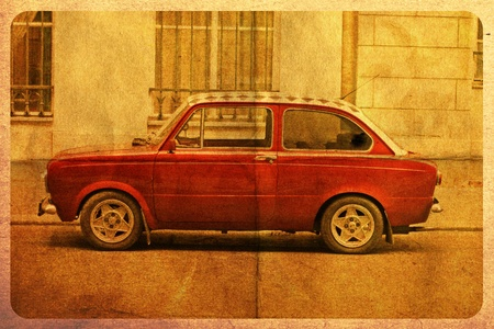 old postcard with vintage red car Stock Photo - 8805349
