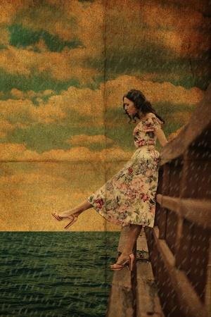 foot bridge: beauty youn woman on the bridge in the rain