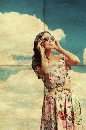 pin up vintage: beauty young woman in sunglasses, vintage pattern, retro dress
