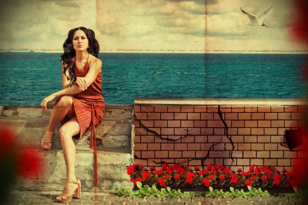 art collage. beauty young woman near the sea Stock Photo - 9118474