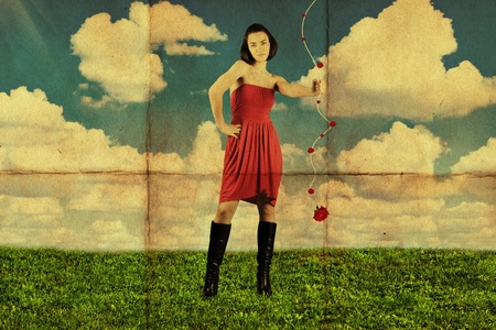 beauty young woman in red dress, vintage, retro pattern photo