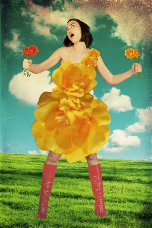 paisaje vintage: joven belleza en vestido de flores amarillas