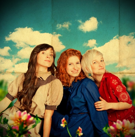 beauty young girls on meadow, blue sky, vintage pattern Stock Photo - 9157290