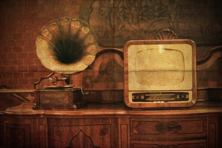 television antigua: Vendimia interior con el antiguo jugador de fon�grafo de TV