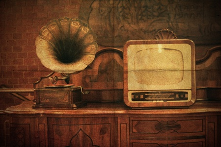 vintage interior with old TV phonograph player photo