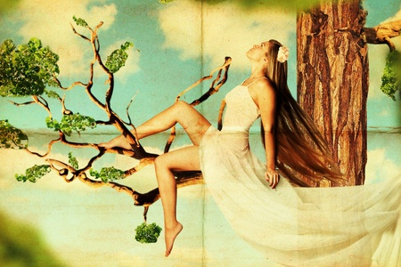 postcard with beauty young woman on tree in the sky Stock Photo - 9157340