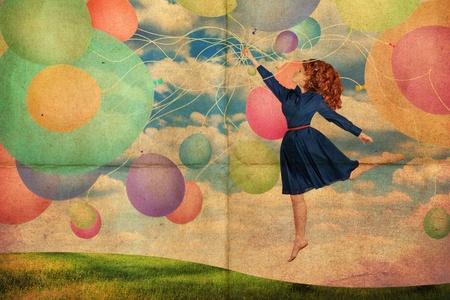 pin up vintage: cartolina retr� con donna giovane bellezza, texture vintage Archivio Fotografico