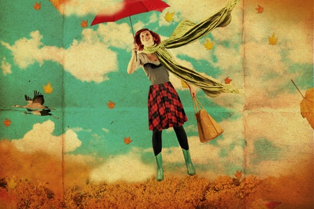 paper umbrella: retro postcard with beauty young woman, vintage texture Stock Photo