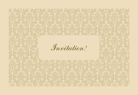 Retro greeting card template design, flower pattern, vintage style, fashion invitation photo
