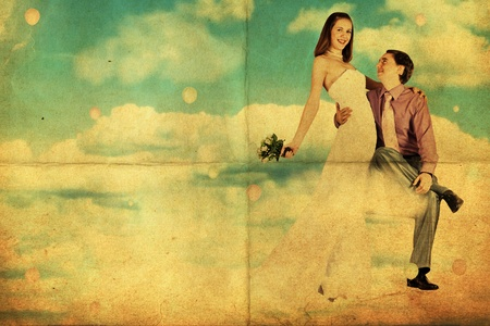 wedding in the sky, vintage art collage Stock Photo
