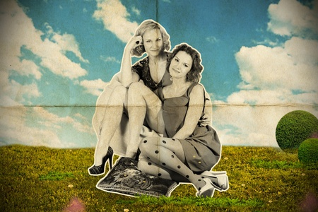 desaturated beauty young women in the park, vintage collage photo