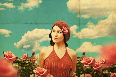 pin up: vintage collage with beauty young woman in roses, retro pattern